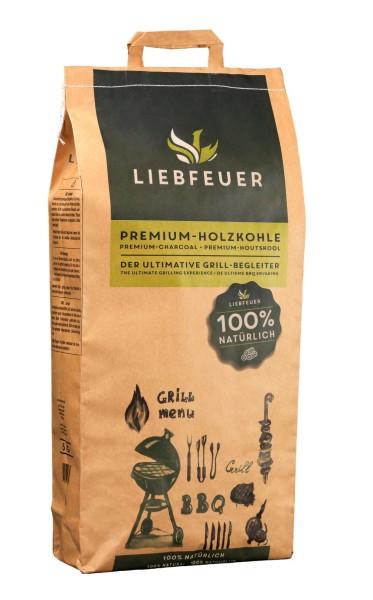 Liebfeuer Premium Holzkohle 5KG - 100% natürlich - rauchfrei - aschearm