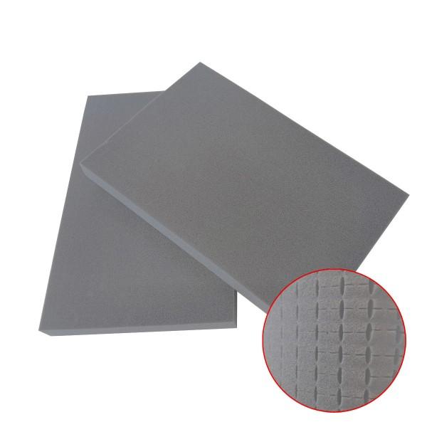 GORANDO® Ersatz-Würfelschaum für ABS Werkzeugkoffer (Doppelpack) - hellgrau