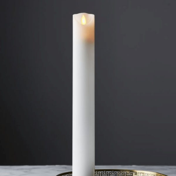 "LED Stabkerze ""M-Twinkle"" - Echtwachs - mechanische Flamme - H: 40cm, D: 5cm - Timer - weiß"