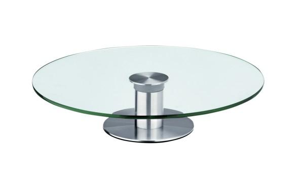 Tortenplatte Kuchenplatte Glas 30cm - drehbar - auf Edelstahlfuß