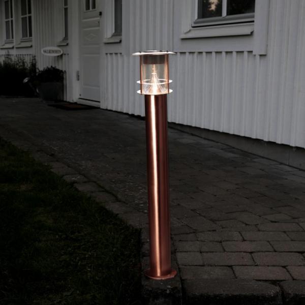 "LED-Solar-Wegleuchte ""Roma"" - kupfern - warmweiße LED - H: 78cm - D: 14,5cm - Dämmerungssensor"
