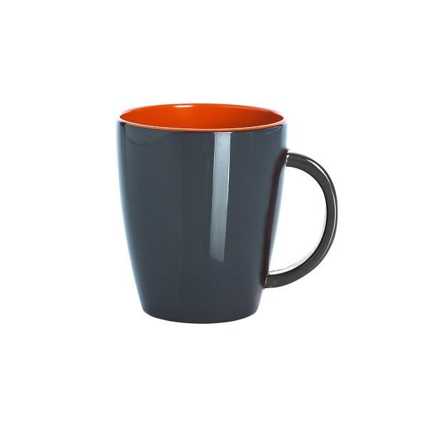 """GIMEX GreyLine """"grau-orange"""" - Henkelbecher 0,35L - bruchfestes Melamin Campinggeschirr"""