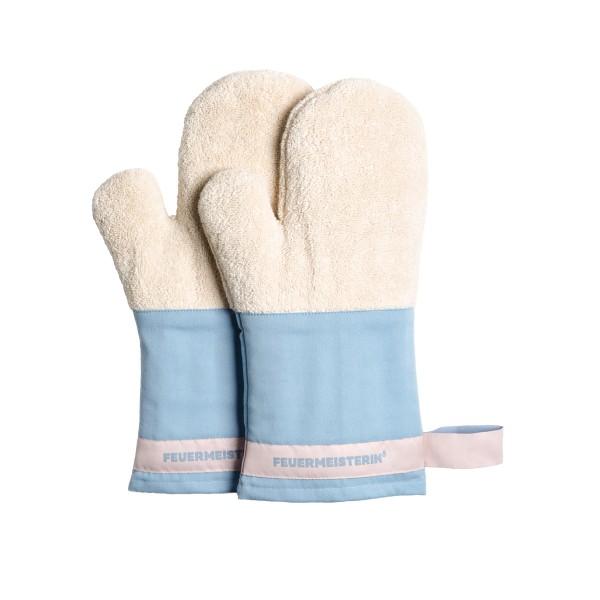 Feuermeisterin Premium Textil Back- und Kochhandschuhe blaue Stulpe/rosa Band, Paar