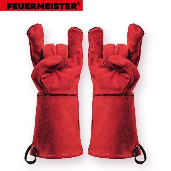 Feuermeister Premium BBQ Grillhandschuhe aus Spaltleder in Rot Größe 8