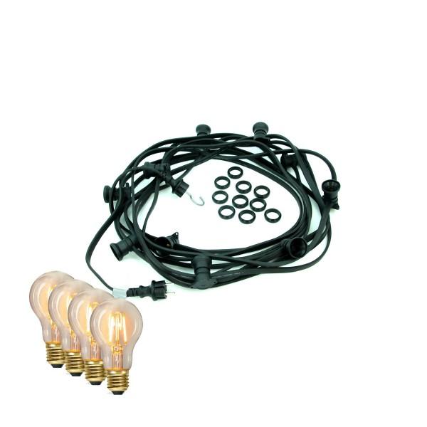 ILLU-Lichterkette BLACKY - 40m - 40xE27 | IP44 | warmweiße EDISON LED Filamentlampen | SATISFIRE