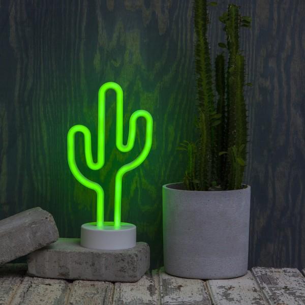 LED Neonlampe KAKTUS - Silhouette Dekoleuchte - Batteriebetrieb - H: 29cm - stehend - grün