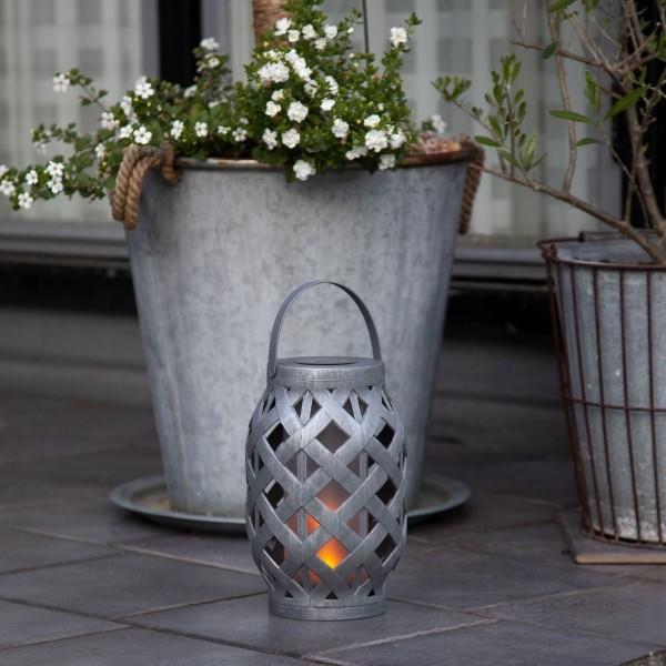 "LED Solar Laterne ""Flame"" - LED mit bewegtem Feuereffekt - H: 23cm - Dämmerungssensor - anthrazit"