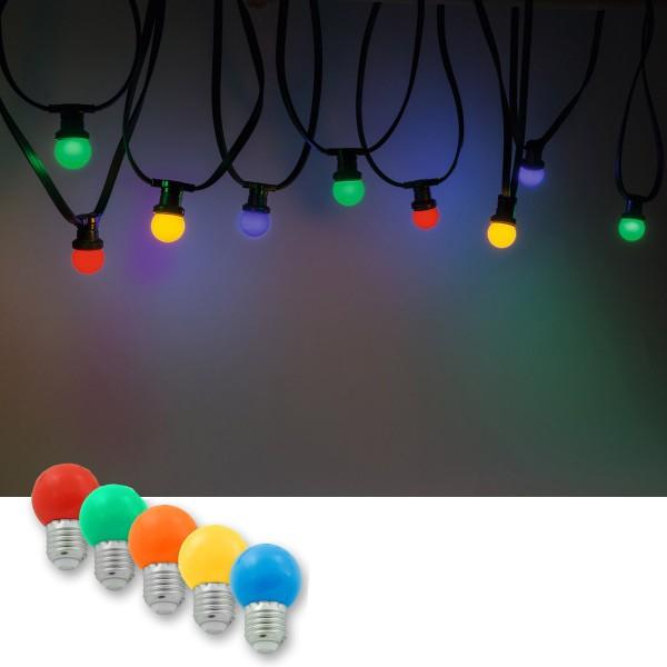 Illu-/Partylichterkette 10m | Außenlichterkette, 10 x bunte LED Lampe - SOMMERDEAL