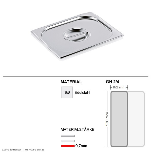 Gastronorm Deckel GN 2/4 -  GN90 - 18/8 Edelstahl - 0,7mm