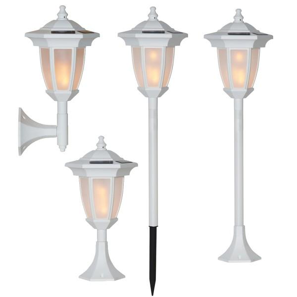 "LED Solar Laterne ""Flame"" - 4in1 - Tisch/Boden/Wand - gelbe LED - Dämmerungssensor - weiß"