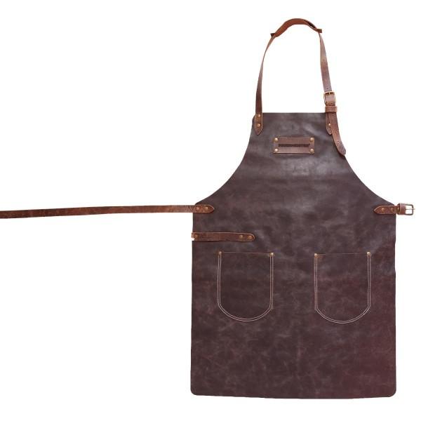 FEUERMEISTER Lederschürze in Antikleder Farbe Braun mit 2 Taschen Größe 1