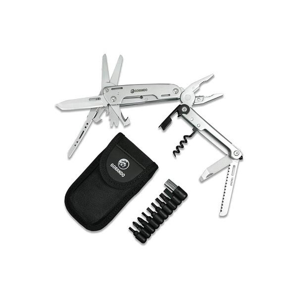 GORANDO® Multitool – 16in1 CITY JUNGLE | Multifunktions Taschenmesser | Edelstahl Werkzeuge zum Klappen | große Schere