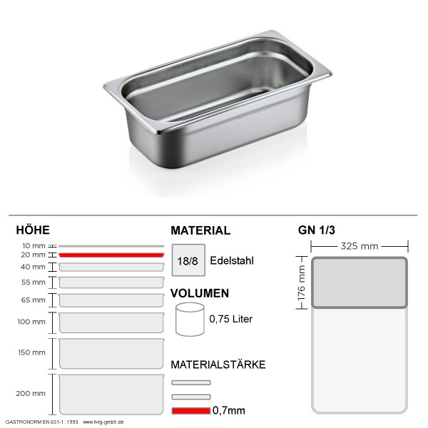 Gastronorm Behälter GN 1/3 - 20mm - GN90 - 18/8 Edelstahl - 0,7mm