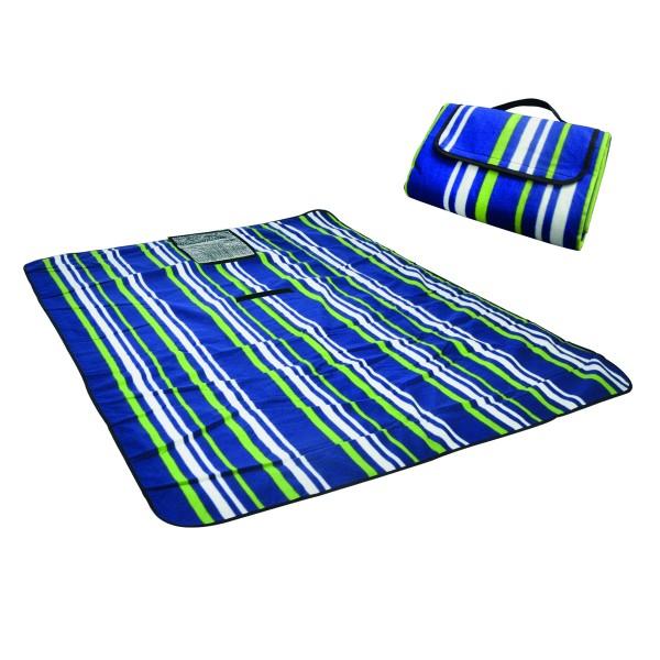 Picknickdecke - 135 x 170cm - Tragetasche - Blau gestreift.
