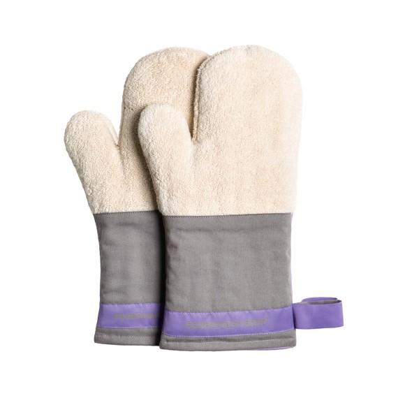 Feuermeisterin Premium Textil Back- und Kochhandschuhe - graue Stulpe/lila Band, Paar