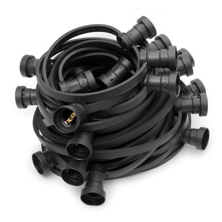 ILLU Lichterkette schwarz - 100 Meter Installations-Rohware - E27 Fassungen alle 33cm