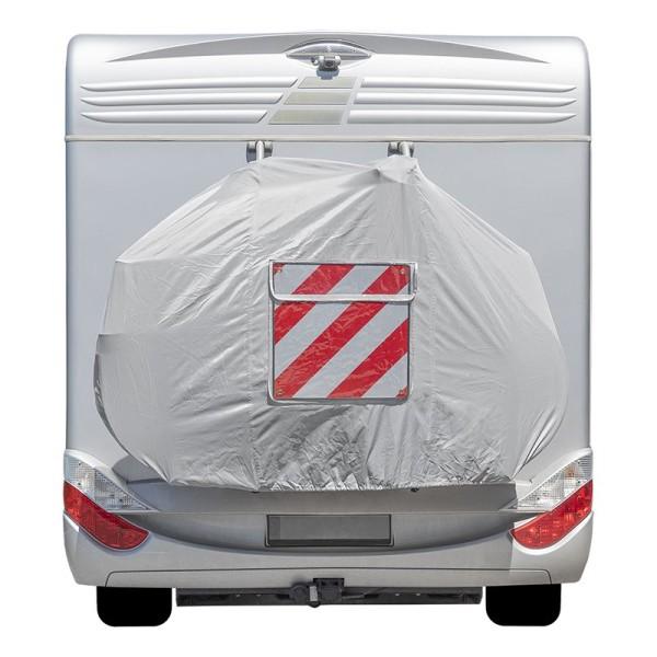 Fahrradschutzhülle XL für 2 Fahrräder - weiß - mit Sichttasche für Warnschild