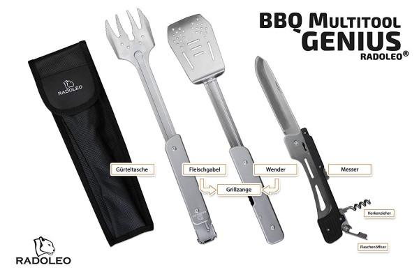 RADOLEO® Grill-Multi-Tool GENIUS Grillbesteck | Zange, Wender, Grillmesser, Fleischgabel, Flaschenöffner, Korkenzieher