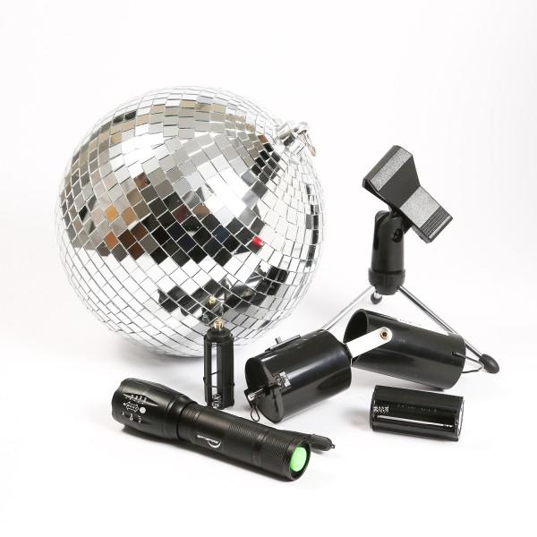 SATISFIRE Discokugel KOMPLETT - Mobile Party Kit - (20cm Spiegelkugel, Motor, Pinspot, Stativ)