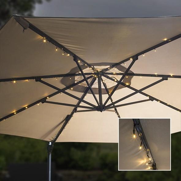 Solar Lichterkette für Sonnenschirme - 8 Speichen - 72 warmweiße LED