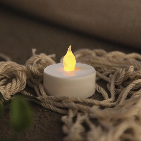 """LED Teelicht """"Paulo"""" - warmweiße flackernde Flamme - Batteriebetrieb - Timer - H: 4cm - 4er Set"""