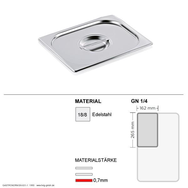Gastronorm Deckel GN 1/4 -  GN90 - 18/8 Edelstahl - 0,7mm