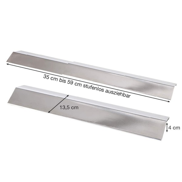 Edelstahl Flammblech schmal, variabel 35-59 cm/13,5 cm - Universal Flammabdeckung