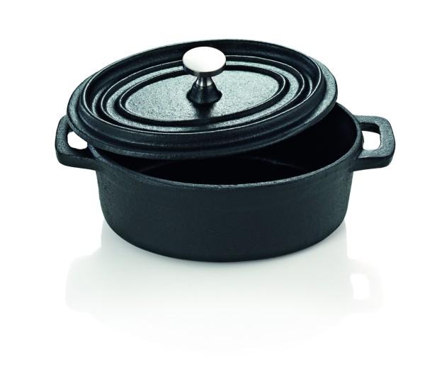 Cocotte - kleiner Gusstopf zum Kochen und Schmoren - Oval 12x9cm - mit Deckel