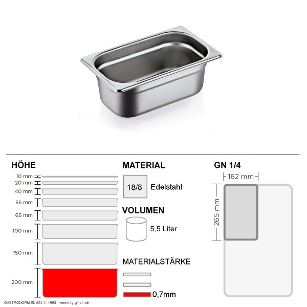 Gastronorm Behälter GN 1/4 - 200mm - GN90 - 18/8 Edelstahl - 0,7mm