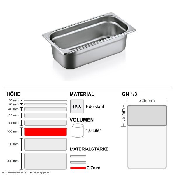 Gastronorm Behälter GN 1/3 - 100mm - GN90 - 18/8 Edelstahl - 0,7mm