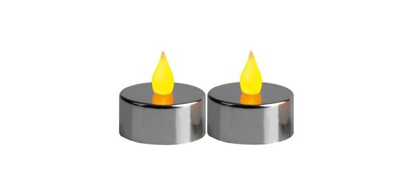 LED-Teelicht   Kunststoff   Mette-Design   flackernde LED   →4cm   ↑4cm   2er Set
