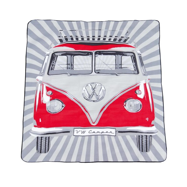 Picknickdecke VW Bulli T1 rot - 200x150cm - Tragetasche