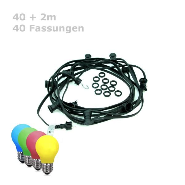 ILLU-Lichterkette BLACKY - 40m - 40xE27 | IP44 | bunte LED Tropfenlampen | SATISFIRE