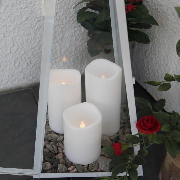 "LED Stumpenkerze ""Paul"" - flackernde LED - H: 15cm - Batteriebetrieb - Timer - outdoor - weiß"