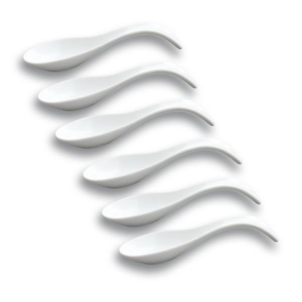 6 x Fingerfood Löffel - Porzellan - 21x7,5cm - für die kleinen Kostbarkeiten