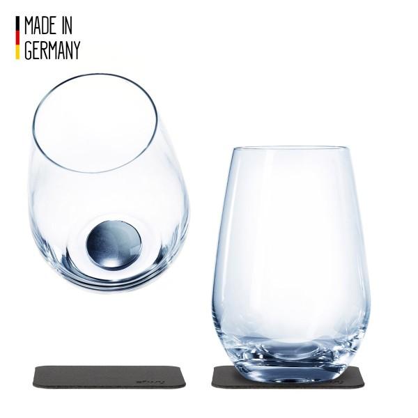 SILWY - Kristallgläser - 2er-Set + 2 Metall-Nano-Gel-Pads - Longdrink Gläser