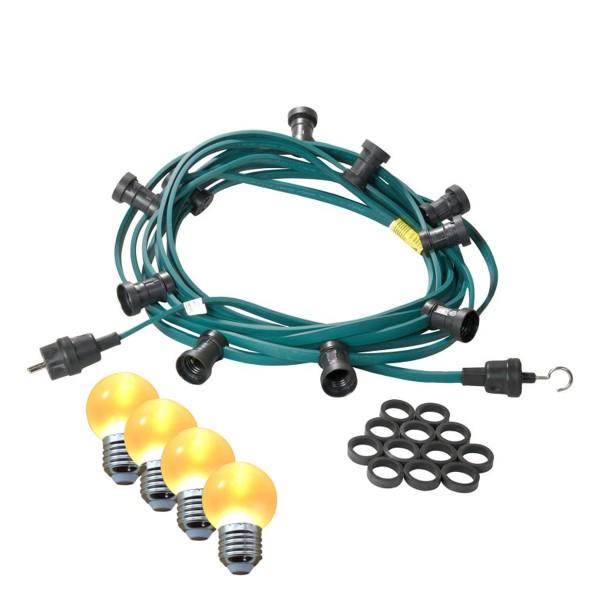 Illu-/Partylichterkette 20m | Außenlichterkette | Made in Germany | 20 x ultra-warmweisse LED Kugeln