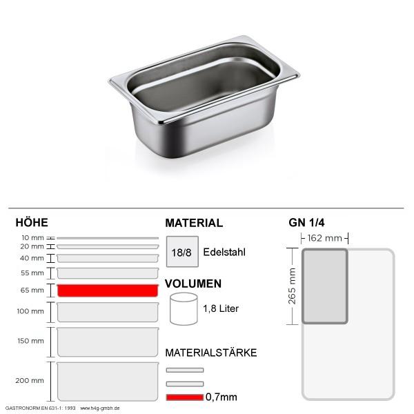 Gastronorm Behälter GN 1/4 - 65mm - GN90 - 18/8 Edelstahl - 0,7mm