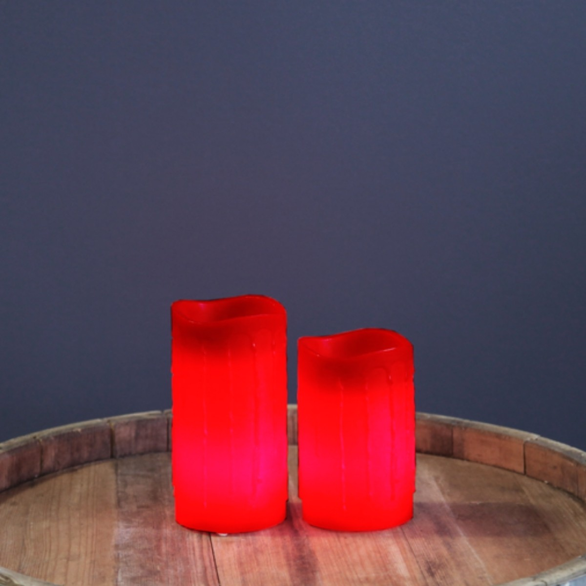LED Kerze Drip - Echtwachs - flackernde LED - Timer - H: 12,5cm - rot