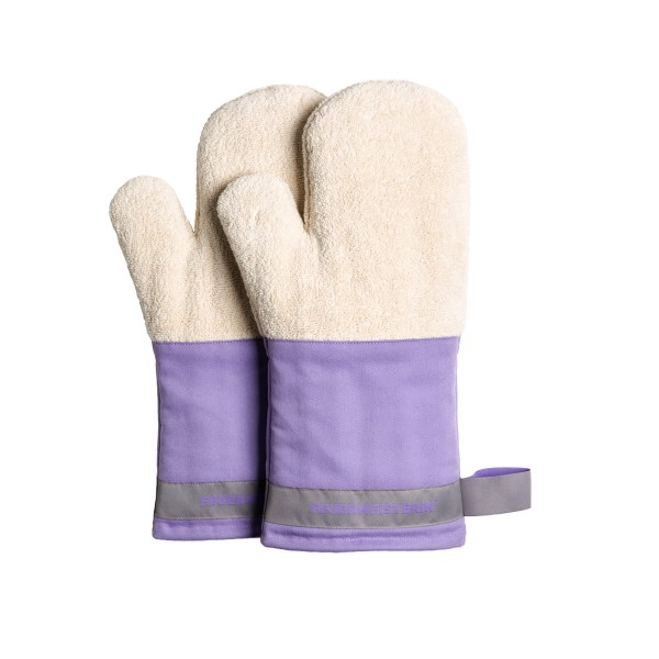 Feuermeisterin Premium Textil Back- und Kochhandschuhe lila Stulpe/graues Band, Paar