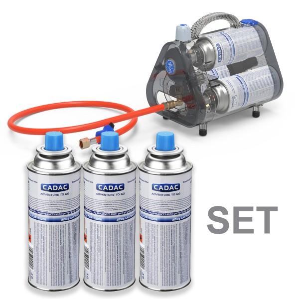 CADAC TRIO POWER PAK 50 - Kombibox inkl. 3 Gaskartuschen - 50mbar - inkl. 85cm Schlauch
