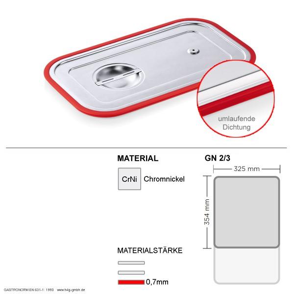 Gastronorm GN 2/3 Transportdeckel - umlaufender Silikon Dichtungsring - Chromnickelstahl