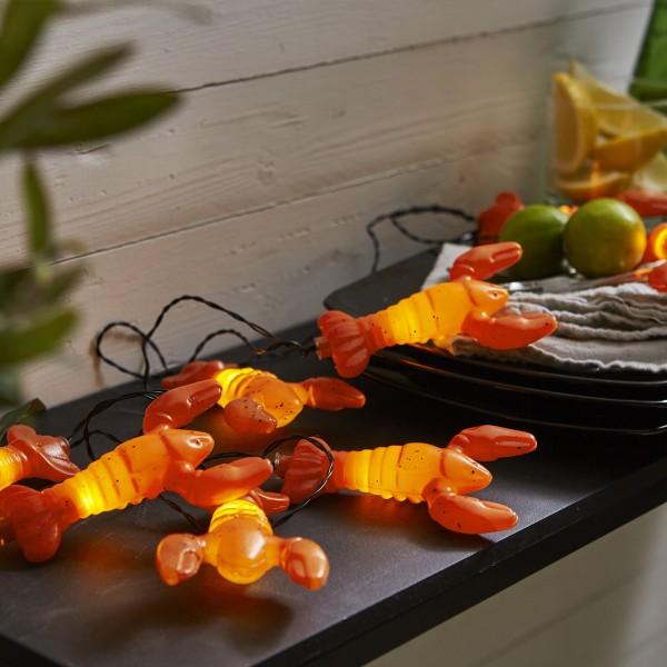 """LED Partylichterkette """"Hummer"""" - 8 warmweiße LED - L: 2,1m - Batterie - Timer - orange"""
