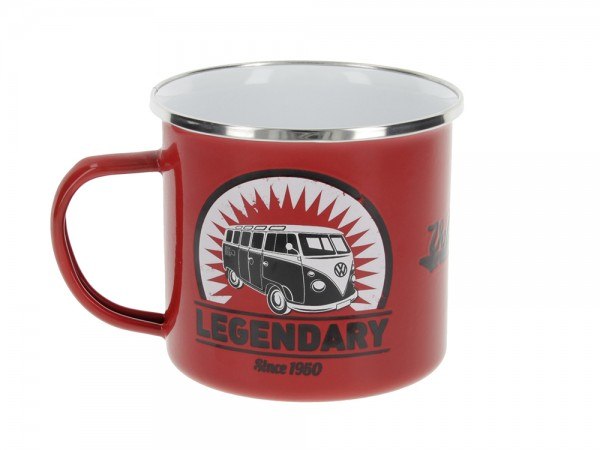 "VW Collection Emaille Tasse ""VINTAGE LOGO RED - 500ml - mit Edelstahlrand"