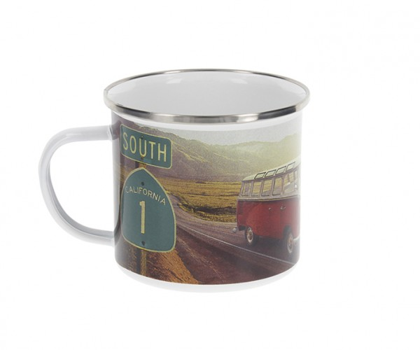 "VW Collection Emaille Tasse ""HIGHWAY 1 - 500ml - mit Edelstahlrand"