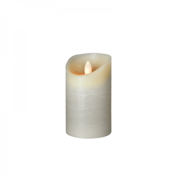 LED Wachskerze SHINE | grau | gefrostet | D: 7,5cm H: 12,5cm | fernbedienbar | Timer