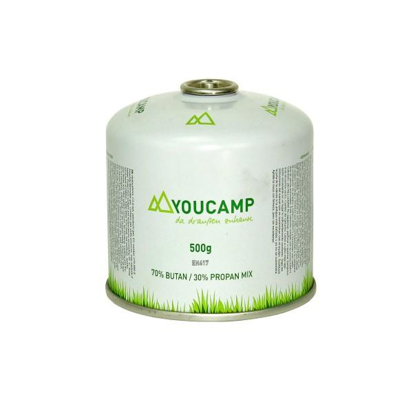 YOUCAMP YC500 Ventil-Gas-Kartusche (500g Butan-Propan-Gemisch) - EN417 Gewinde
