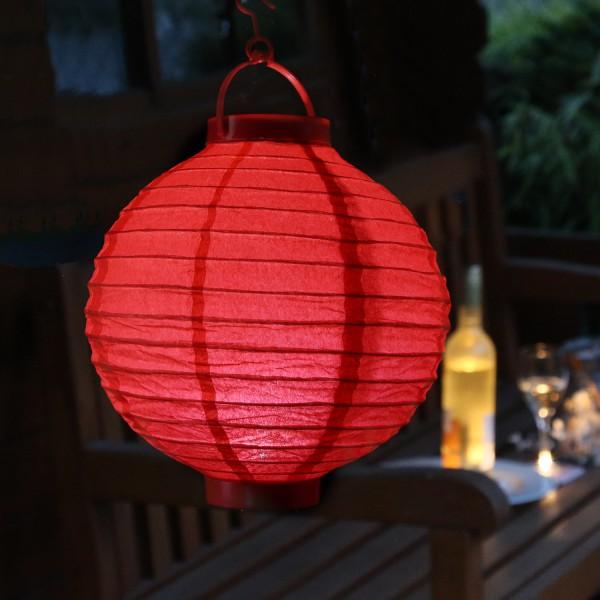 LED Lampion FESTIVAL - kaltweiße LED - D: 20cm - Montagehaken - rot