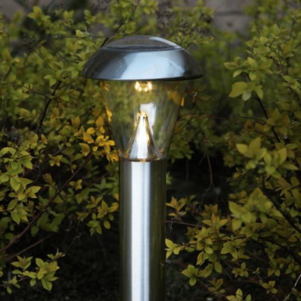"LED-Solar-Wegleuchte ""Napoli"" - Edelstahl - warmweiße LED - H: 36cm - D: 15,5cm - Dämmerungssensor"