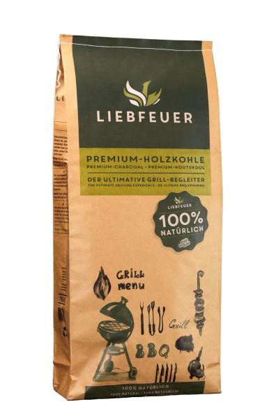 Liebfeuer Premium Holzkohle 10KG - 100% natürlich - rauchfrei - aschearm
